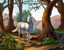 独角兽在森林里 免版税图库摄影