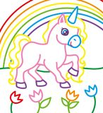 独角兽彩图在彩虹附近的 免版税库存照片