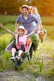 独轮车的快乐的女儿有父亲的 免版税库存图片