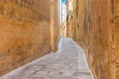 狭窄的中世纪街道美丽的景色在老镇姆迪纳,麦芽 库存照片