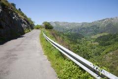 狭窄的农村路在阿斯图里亚斯 免版税库存图片