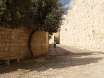 狭窄的小街道在锡安山的老城市 Israe 免版税图库摄影