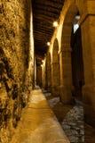狭窄的曲拱在晚上 库存图片