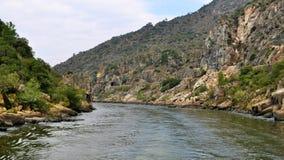 狭窄的杜罗河河和风景 免版税库存照片
