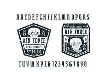 狭窄的细体字体和空军象征 库存例证