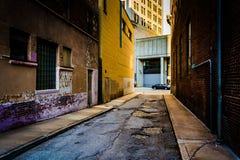 狭窄的胡同在巴尔的摩,马里兰 免版税库存照片
