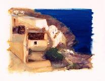 狭窄的街道和小屋在圣托里尼 库存图片