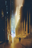 狭窄的街道在人夜和剪影里单独走 库存例证