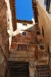 狭窄的街道在切尔瓦,巴伦西亚 库存图片