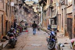 狭窄的街道在尼泊尔 库存照片