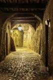 狭窄的街道在老镇在法国在晚上 图库摄影