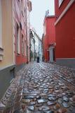 狭窄的街道在里加拉脱维亚 库存图片