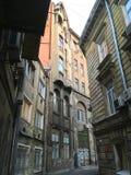 狭窄的街道在Lvov 库存图片