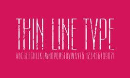 狭窄的Sans Serif字体 稀薄的线字体 库存例证