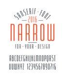 狭窄的sanserif字体和数字 向量例证