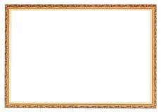 狭窄被雕刻的古老金木画框 图库摄影
