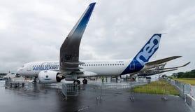 狭窄身体双发动机喷气机班机空中客车A320neo 库存图片