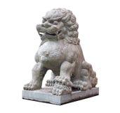 狮子中国石雕塑在白色背景的 库存照片