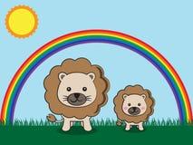 狮子和孩子 免版税库存图片