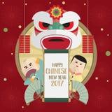狮子和男孩女孩愉快的春节2017卡片 免版税库存照片