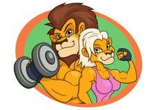 狮子和雌狮摆在 库存图片