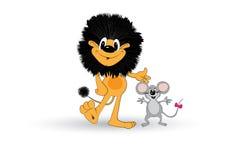 狮子和鼠标 免版税库存图片