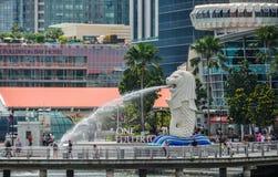 狮子喷泉,城市的标志在新加坡 库存图片