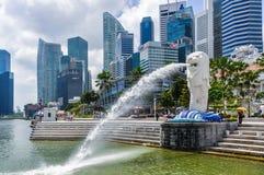 狮子喷泉,城市的标志在新加坡 免版税库存照片