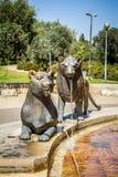 狮子喷泉,布龙菲尔德庭院在耶路撒冷,以色列 免版税库存照片