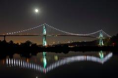狮子在满月的门桥梁 加拿大温哥华 免版税库存照片
