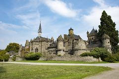 狮子城堡卡塞尔Wilhelmshoehe,童话城堡,德国 免版税图库摄影
