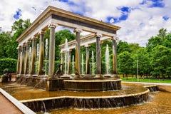 狮子小瀑布喷泉在Peterhof,俄罗斯 图库摄影