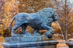 狮子小瀑布的元素在Peterhof 免版税库存图片