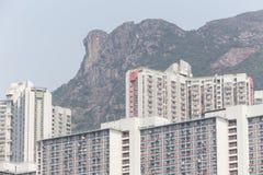 狮子岩石和黄大仙庄园在香港 库存照片