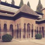 狮子庭院在阿尔罕布拉宫 免版税库存照片