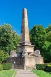 狮子方尖碑在Copou公园在Iasi,罗马尼亚 库存图片