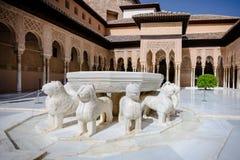 狮子法院,格拉纳达,阿尔罕布拉宫,西班牙 免版税库存图片