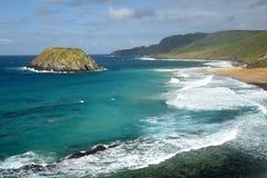 狮子海滩在费尔南多・迪诺罗尼亚群岛,巴西 库存照片