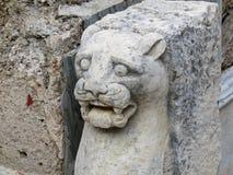 狮子的古老雕象 库存照片