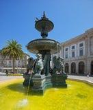 狮子的喷泉在波尔图,葡萄牙 免版税库存图片
