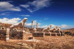 狮子的大阳台在提洛岛海岛上的 图库摄影