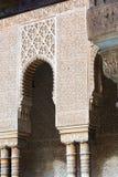 狮子的庭院细节在天时间的 阿尔汉布拉 库存照片