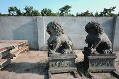 以狮子的形式石雕塑 库存图片