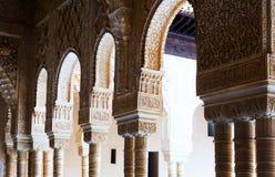 狮子的法院的曲拱和专栏在阿尔罕布拉宫 图库摄影
