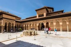 狮子的法院,回教艺术的一个独特的例子 库存照片