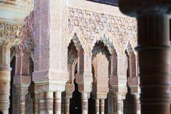 狮子的法院细节在阿尔罕布拉宫在格拉纳达 免版税库存图片