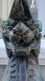 狮子监护人在, Wat Phra Chetupon Vimolmangklararm Wat Pho寺庙,泰国 免版税图库摄影