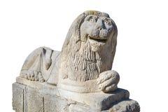 狮子石雕象,被隔绝 库存照片