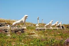 狮子著名大道  废墟 提洛岛,希腊逃出克隆岛  免版税图库摄影