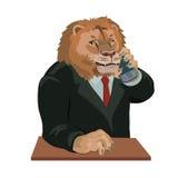 狮子谈话在手机 库存图片